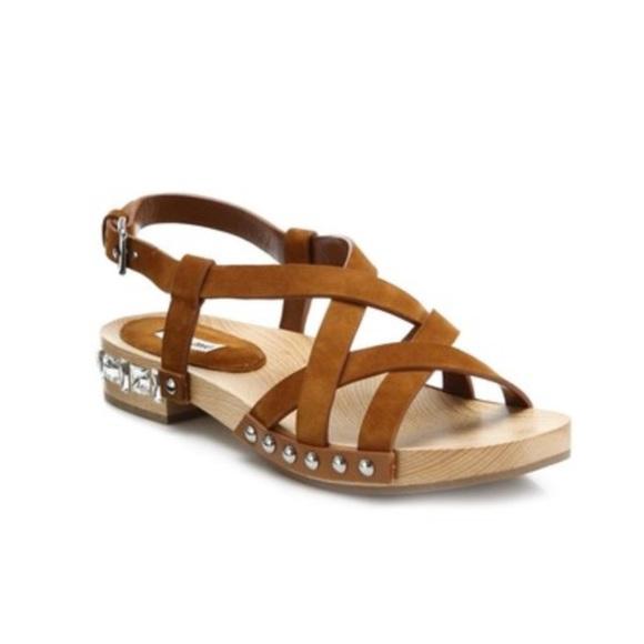 99e7ab010e4b Miu miu suede wooden jewel clog sandals. M 5a8b3d493800c57474008a49